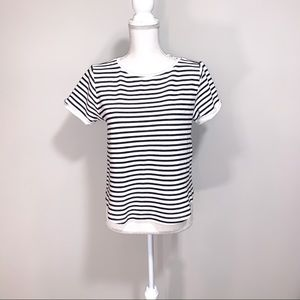 ZARA TRAFALUC Striped Rounded Hem T-shirt